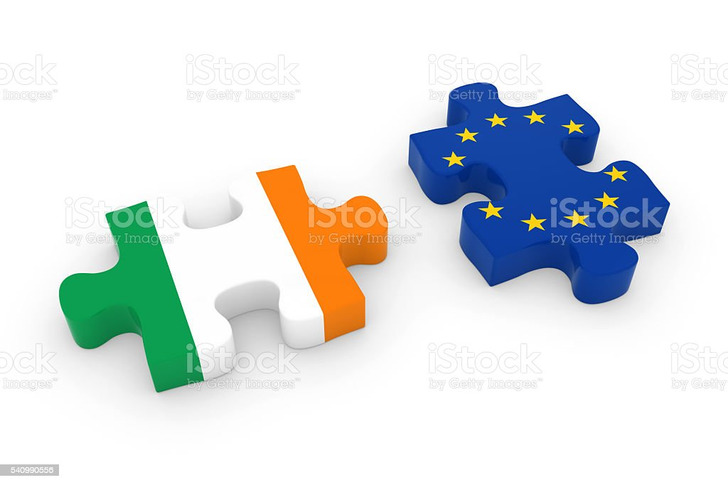Ireland and EU Puzzle Pieces  Irish and European Flag Jigsaw stock photo