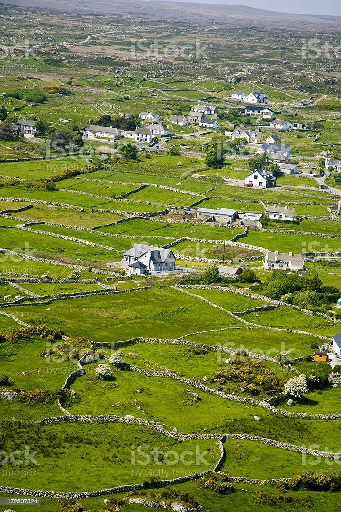 Ireland: Aran Islands Fields and Houses (Aerial) stock photo