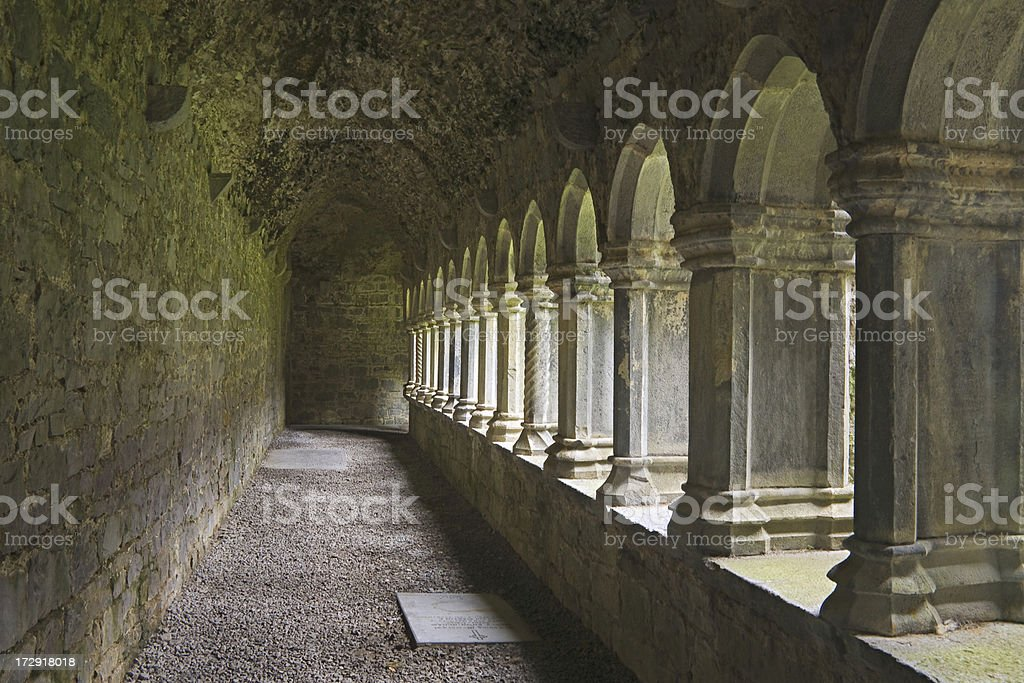 Ireland: Arches in Cloister, Quinn Abbey royalty-free stock photo