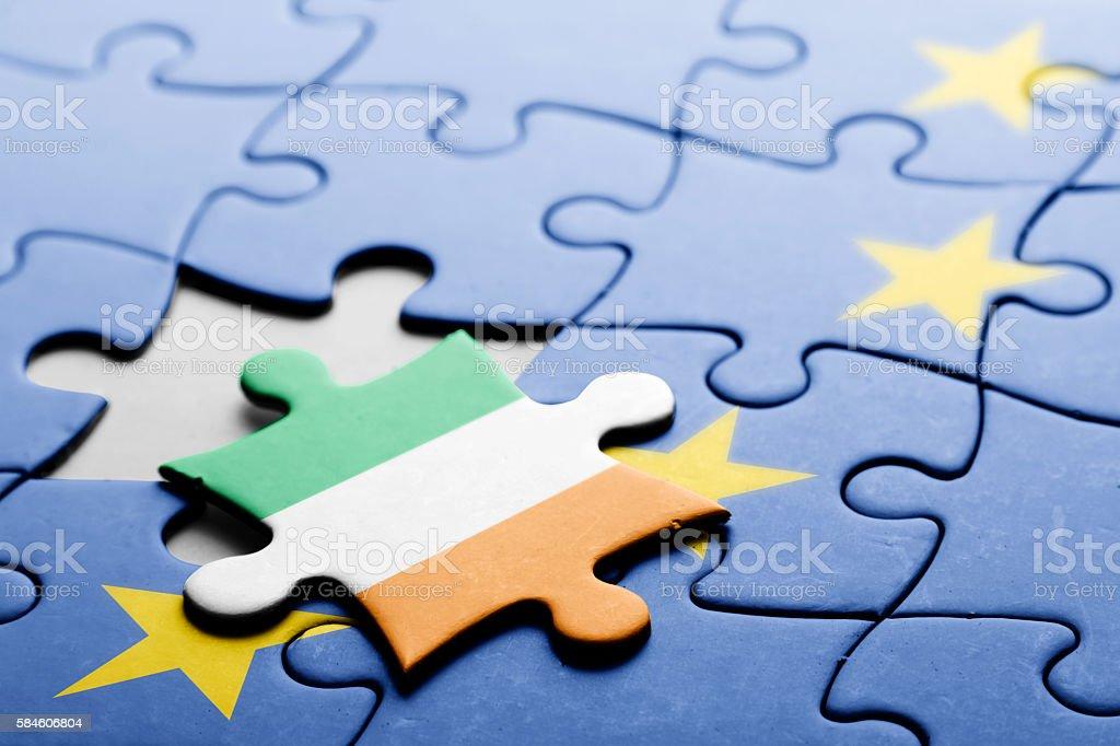 Ireland. Exit from European Union concept puzzle stock photo