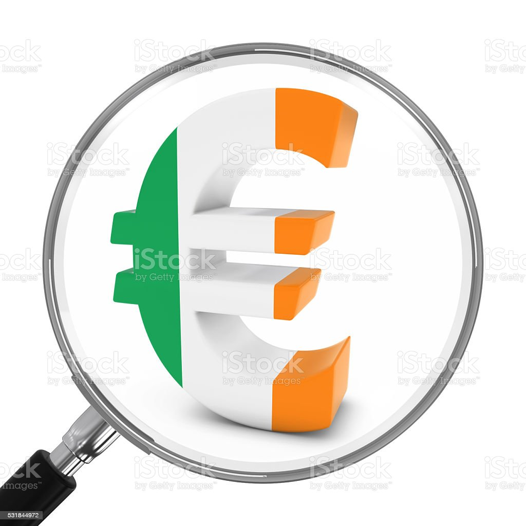 Ireland Finance Concept - Irish Euro Symbol Under Magnifying Glass stock photo