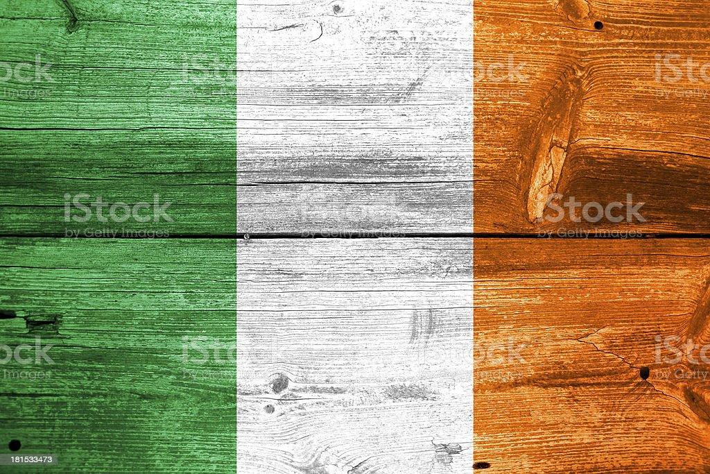 Ireland Flag painted on old wood plank background royalty-free stock photo