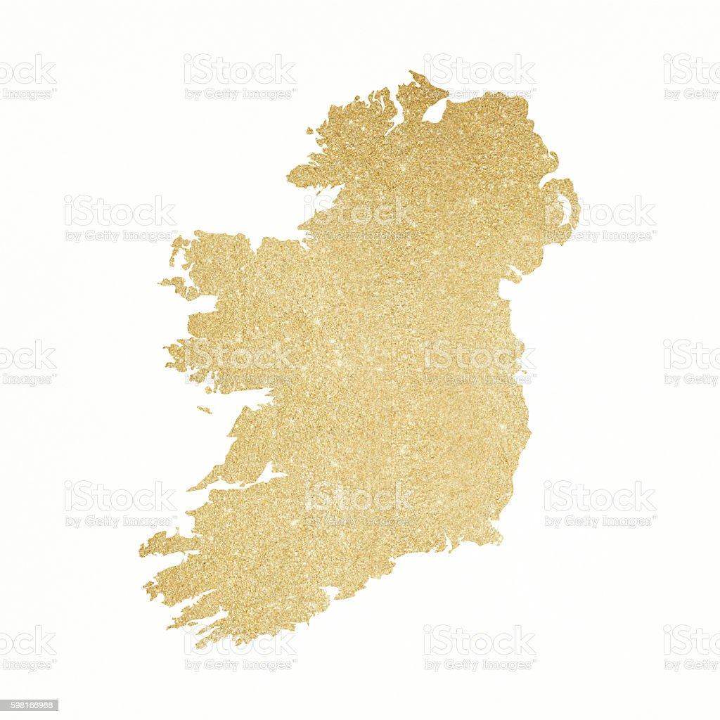 Ireland gold glitter map stock photo