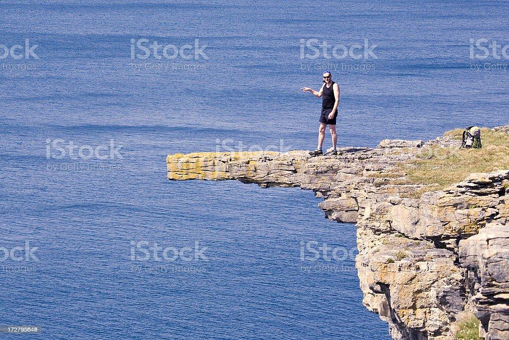 Ireland: Hiker in Dangerous Spot? Inis Mor stock photo