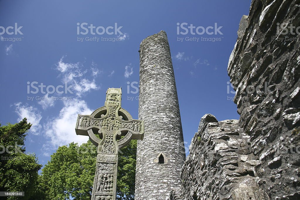 Ireland Monasterboice Cross and Tower 3 royalty-free stock photo