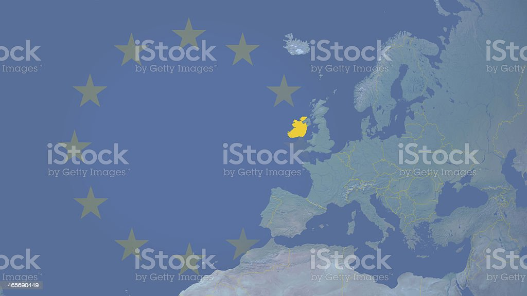 Ireland part of  European union since 1973 16:9 with borders royalty-free stock photo