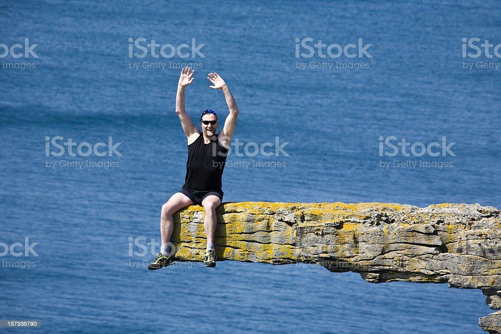 Ireland: Suspended Hiker on Inis Mor, Aran Islands stock photo
