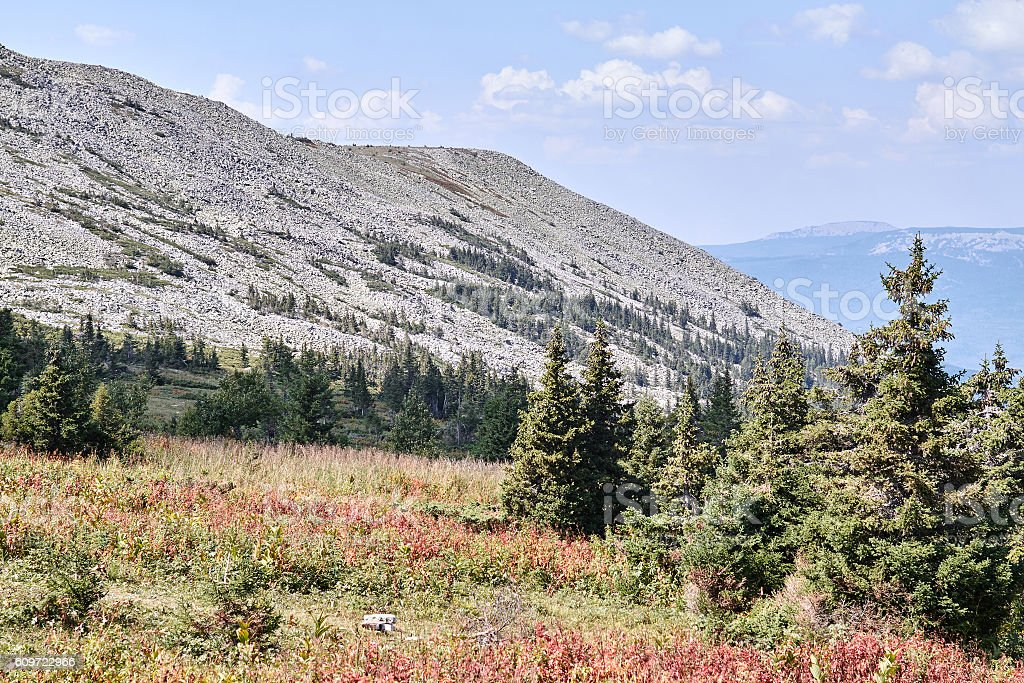 Iremel mountain in national park Iremel in Russia stock photo