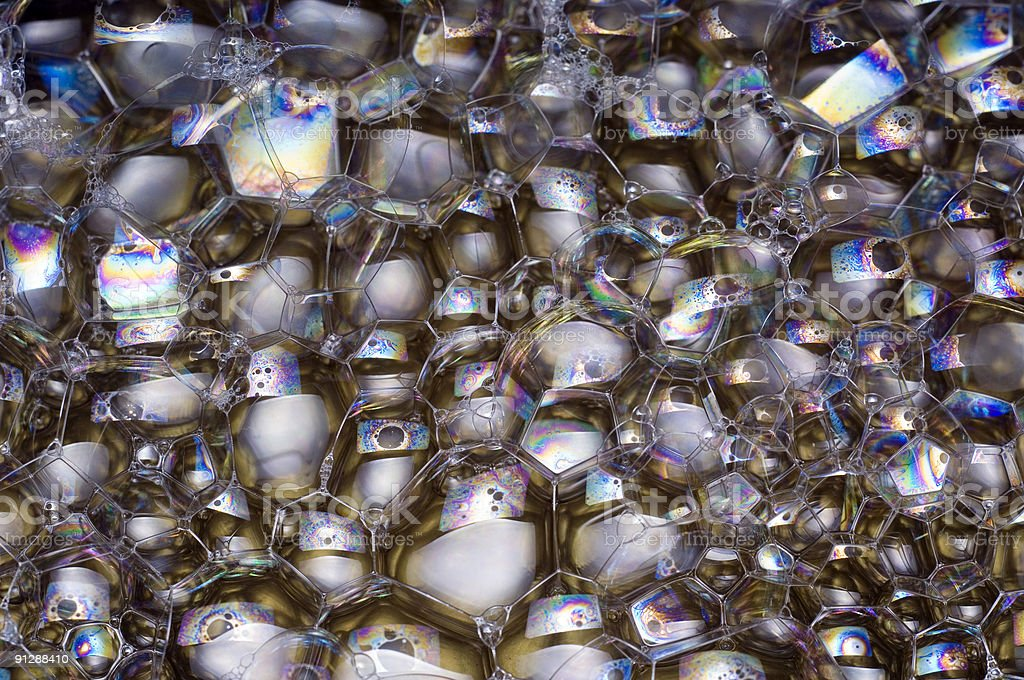 Iridescent soap bubbles close-up stock photo