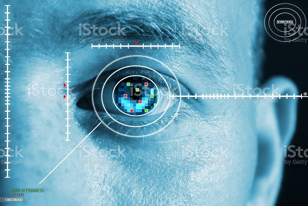 iris scan security stock photo