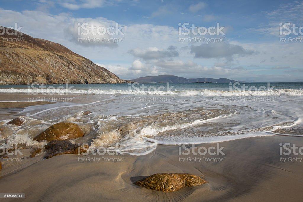 Irish beach as tide comes in stock photo