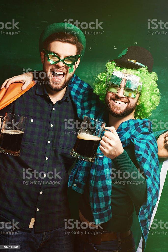 Irish beer buddies stock photo