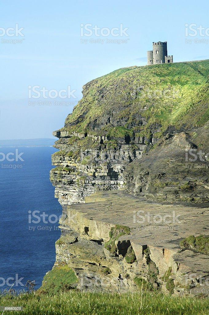 Irish castle, cliffs of moher royalty-free stock photo
