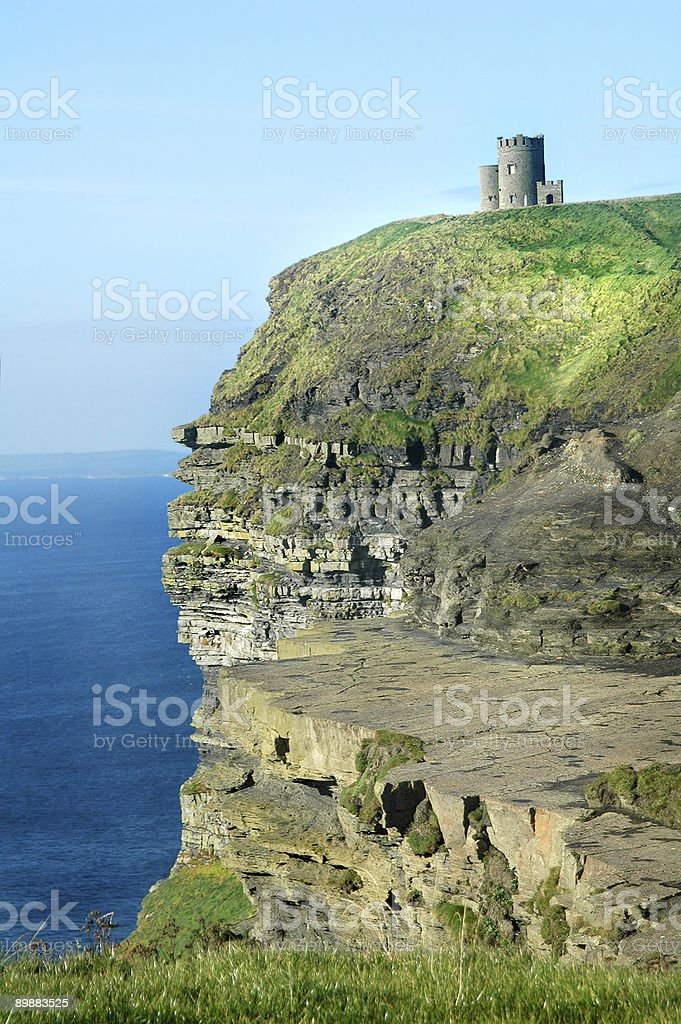 Irish castle, cliffs of moher stock photo