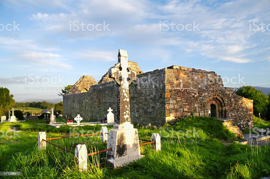 Irish Cemetery and Church Ruin royalty-free stock photo