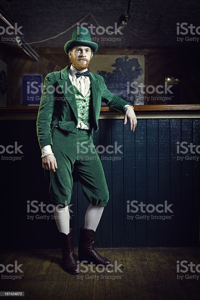 Irish Character / Leprechaun Standing in a Pub stock photo