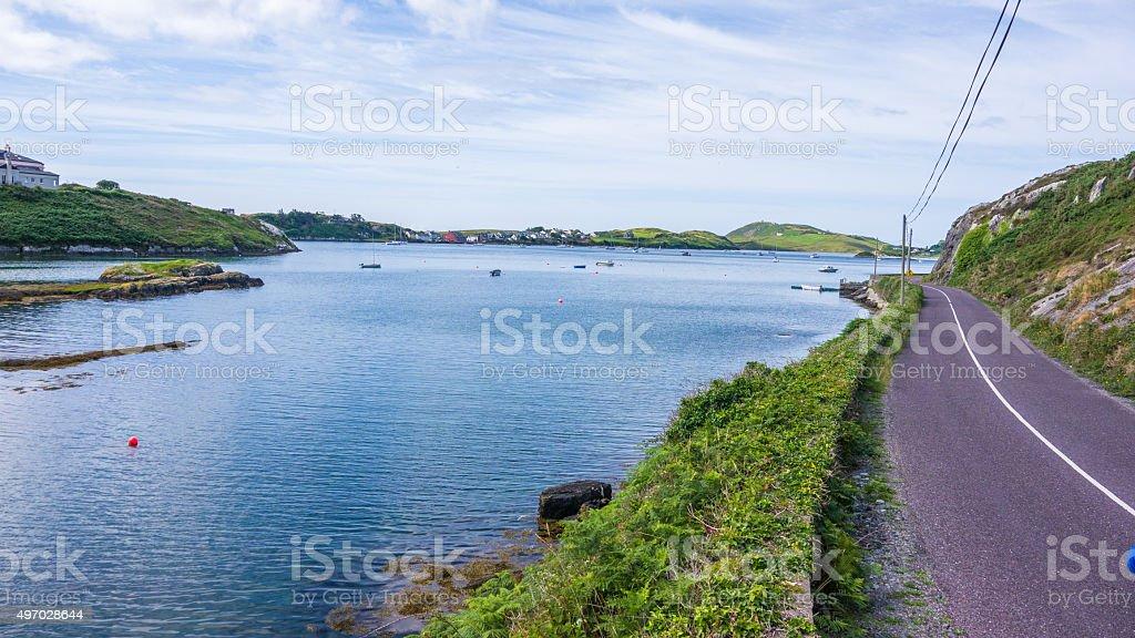 Irish coastal street stock photo