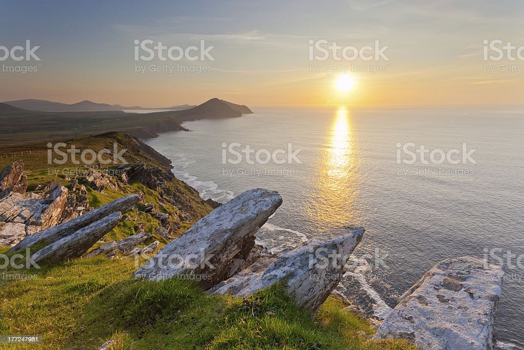 irish coastline at sunset stock photo