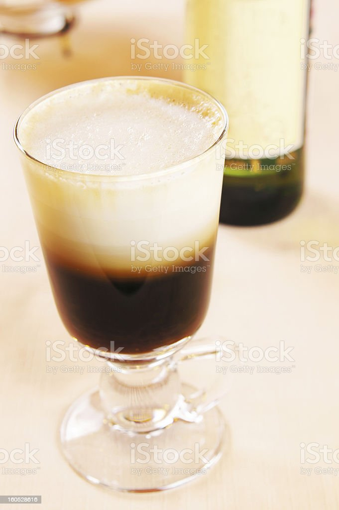 Irish coffee cocktail in a glass royalty-free stock photo