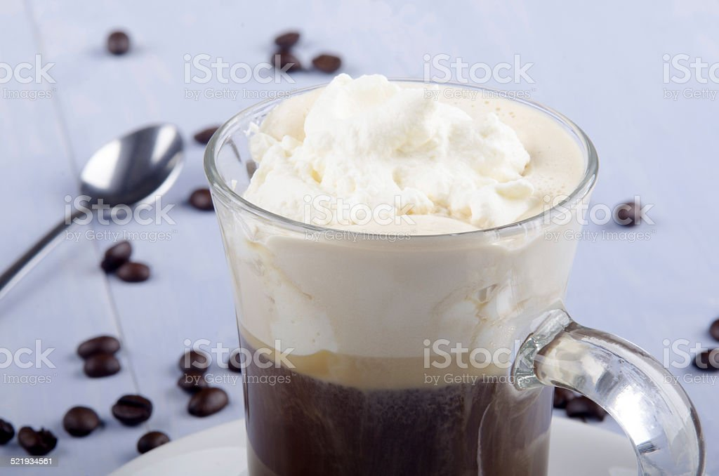irish coffee in a glass mug stock photo