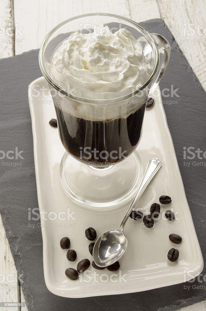 irish coffee in a glass stock photo