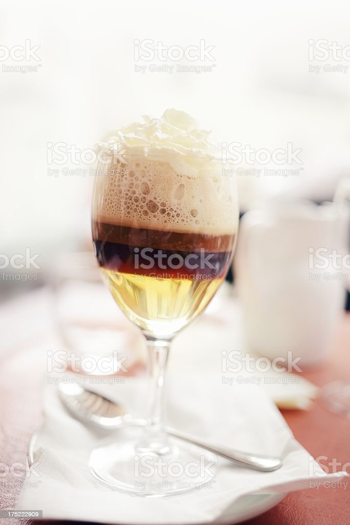 Irish Coffee In Glass stock photo