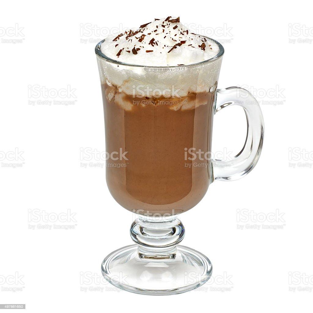 Irish coffee in mug stock photo