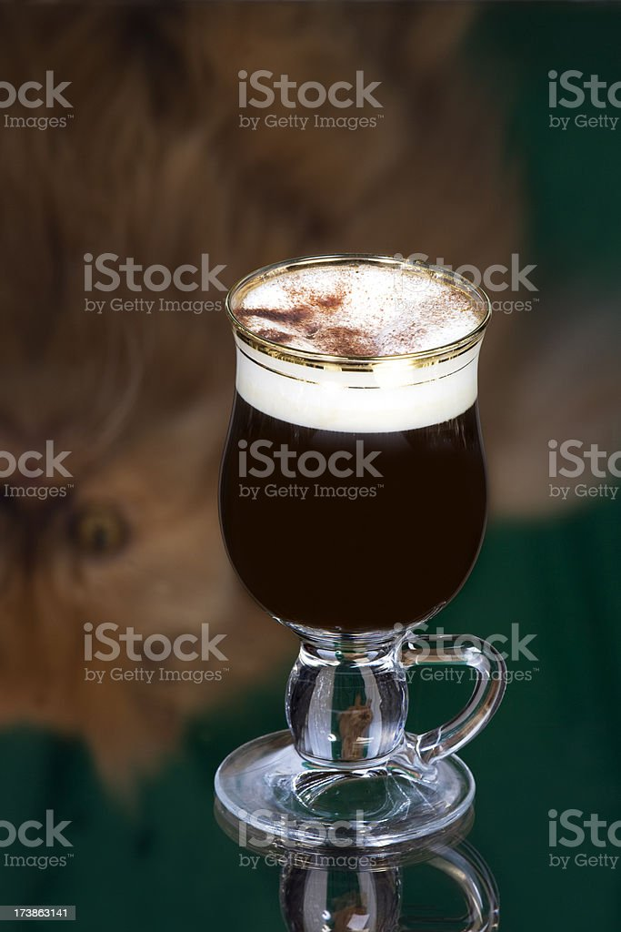 Irish coffee with cat reflection royalty-free stock photo