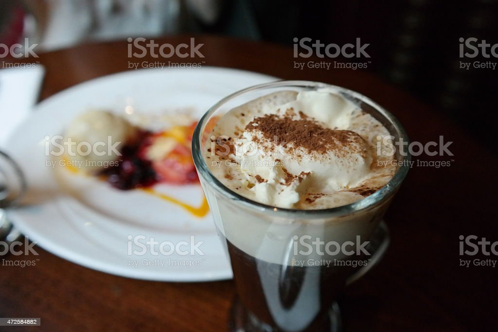 Irish coffee with dessert stock photo