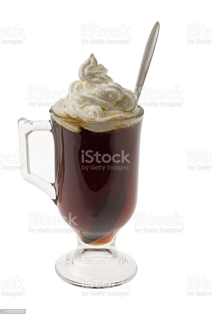 Irish coffee with whipped cream. royalty-free stock photo