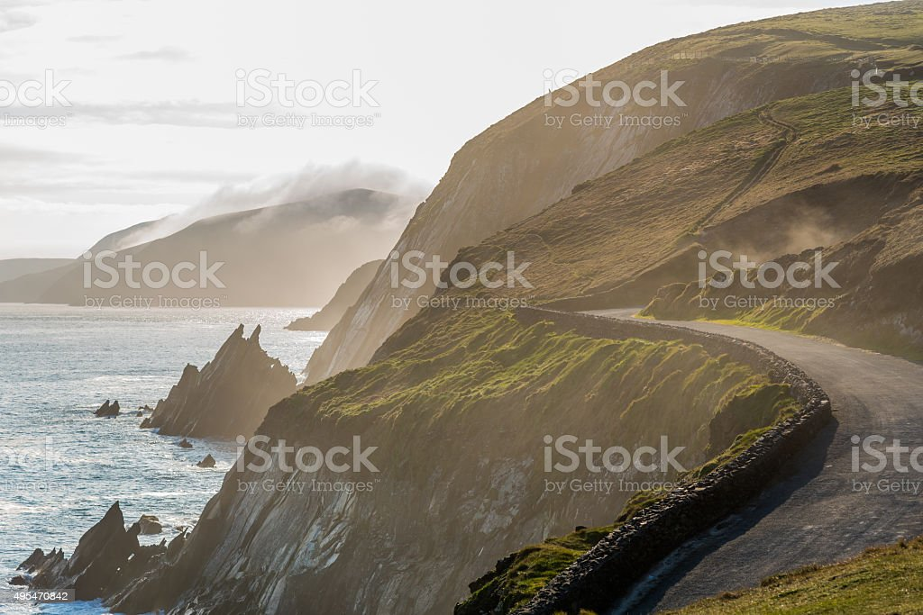 Irish Costal Road In Spring Evening stock photo