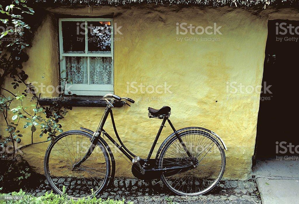 Irish Cottage and Bike royalty-free stock photo