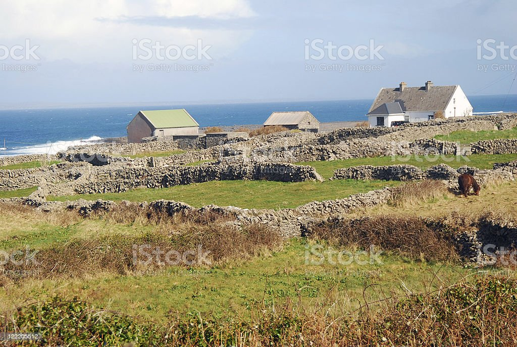 Irish Cottages, Aran Islands stock photo