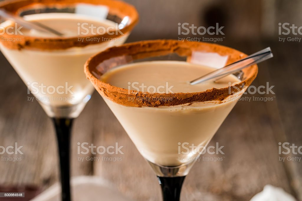 Irish cream liqueur in a glass stock photo