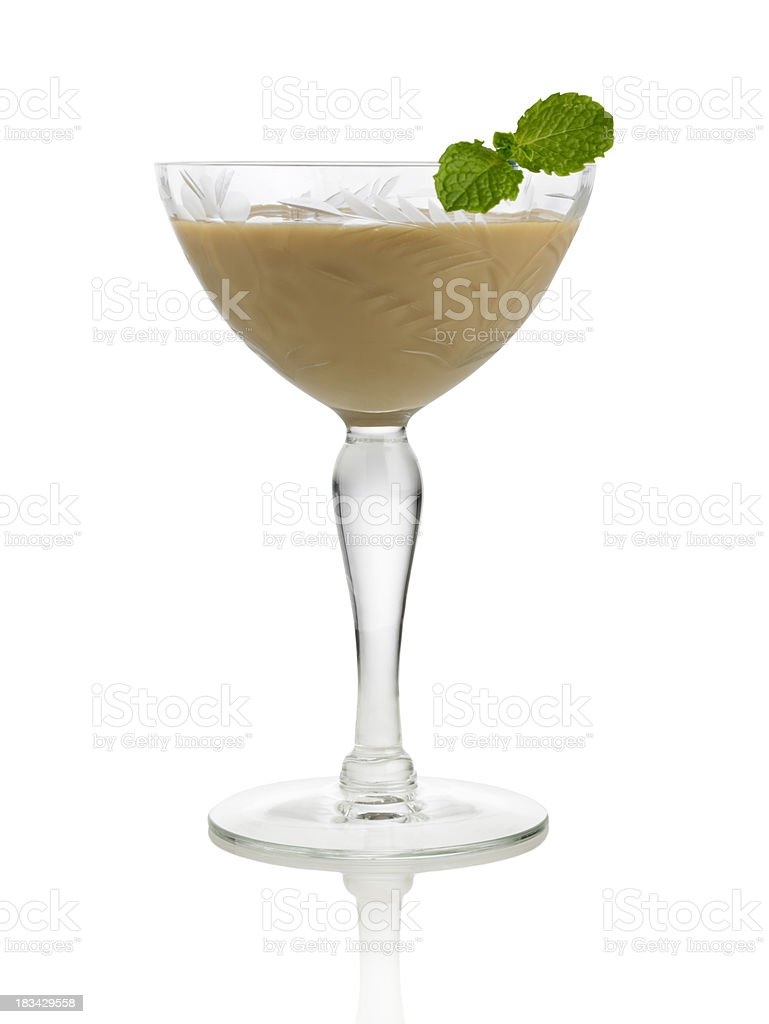 Irish cream liqueur with mint leaf royalty-free stock photo