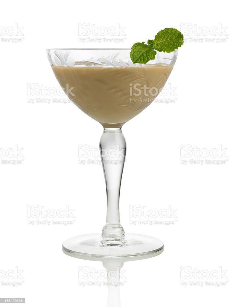 Irish cream liqueur with mint leaf stock photo