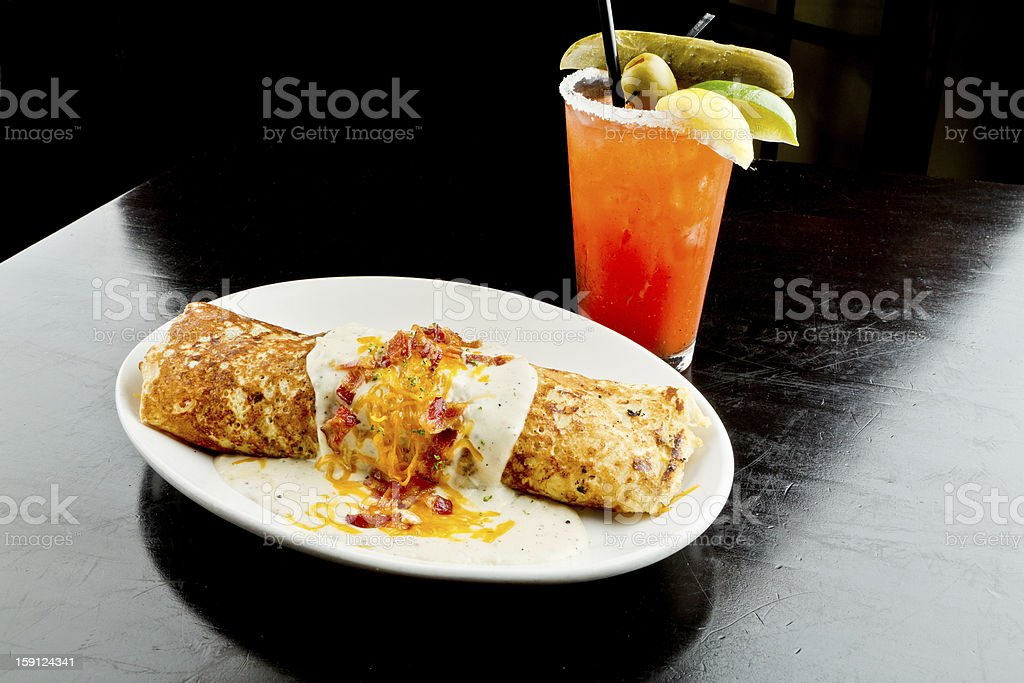Irish Cuisine Boxty in Gravy  and Bloody Mary royalty-free stock photo