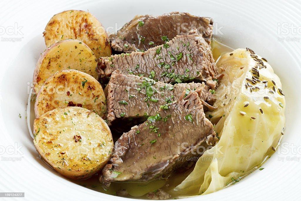 Irish Cuisine, Corned Beef, Cabbage an Roasted Potatoes stock photo