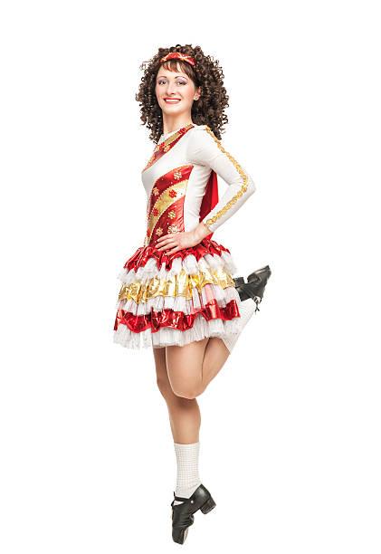 dress posing outdoor stock photo irish dancer in hard shoes dancing stock photo - Irish Dancer Halloween Costume