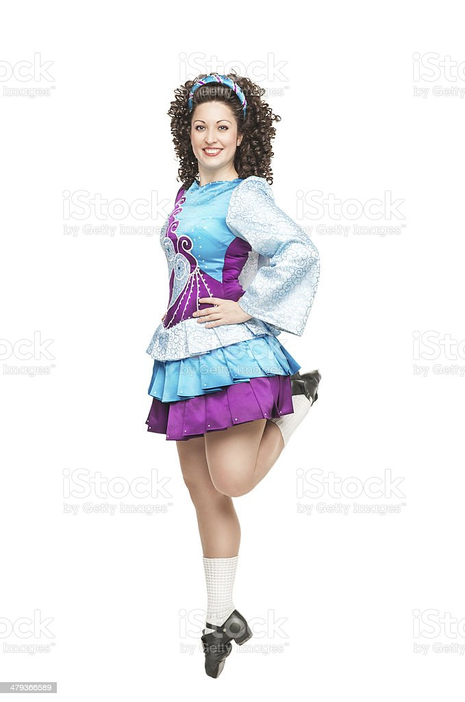 Irish dancer in hard shoes dancing stock photo