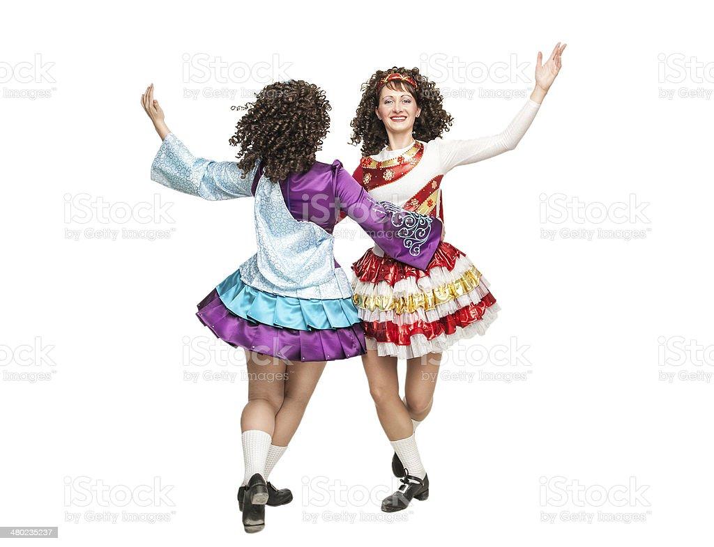 Irish dancers in hard shoes dancing stock photo