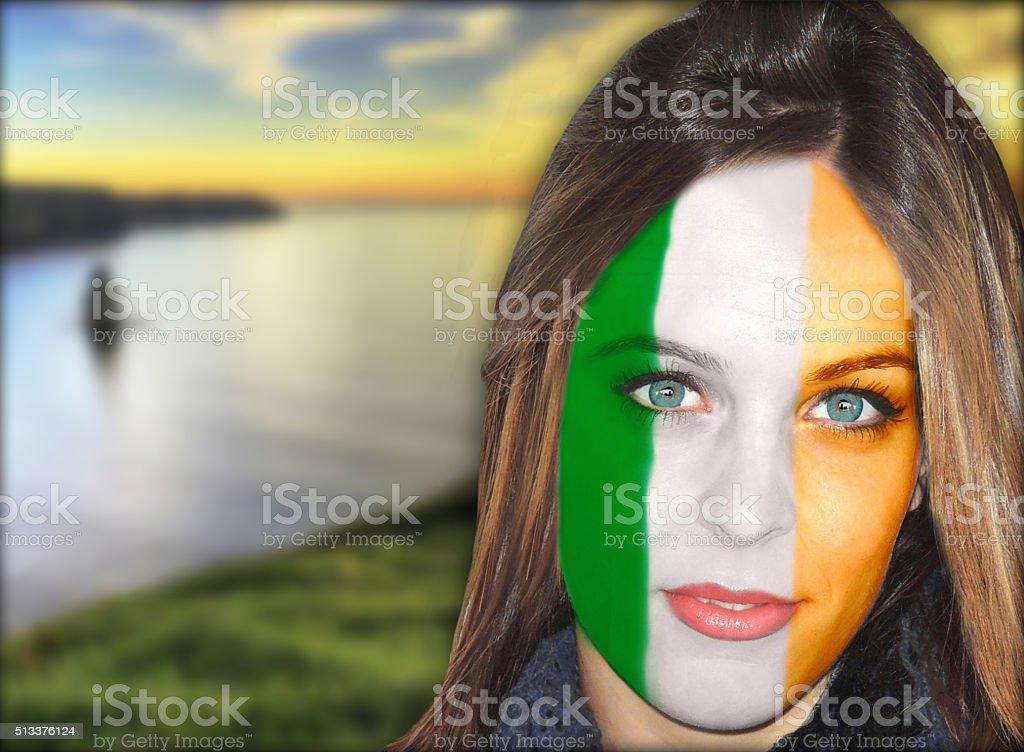 Irish fan patriots stock photo