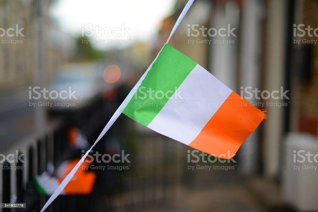 Irish flag and bunting stock photo