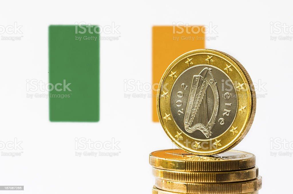 Irish Flag and Euro royalty-free stock photo