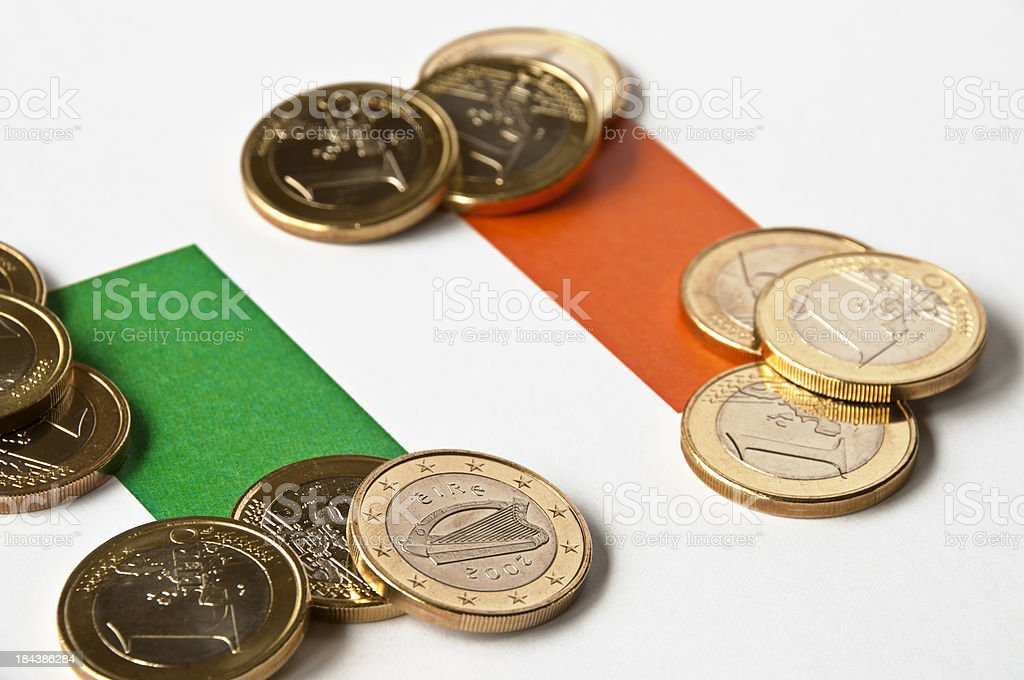 Irish Flag and Euros stock photo
