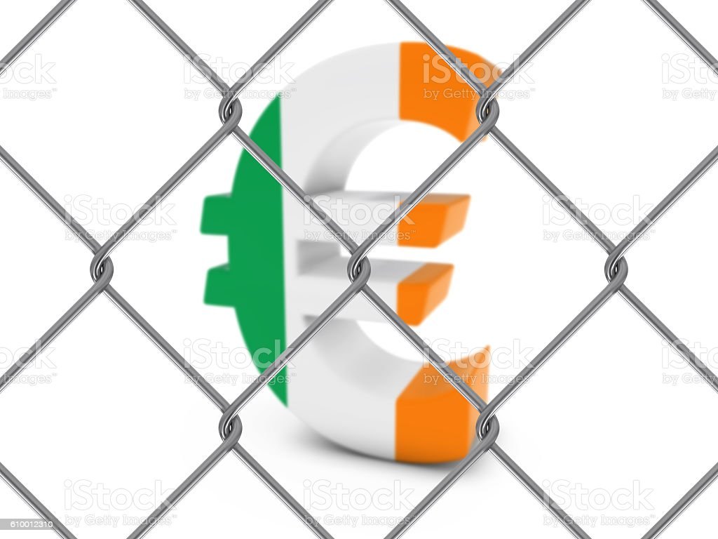Irish Flag Euro Symbol Behind Chain Link Fence stock photo