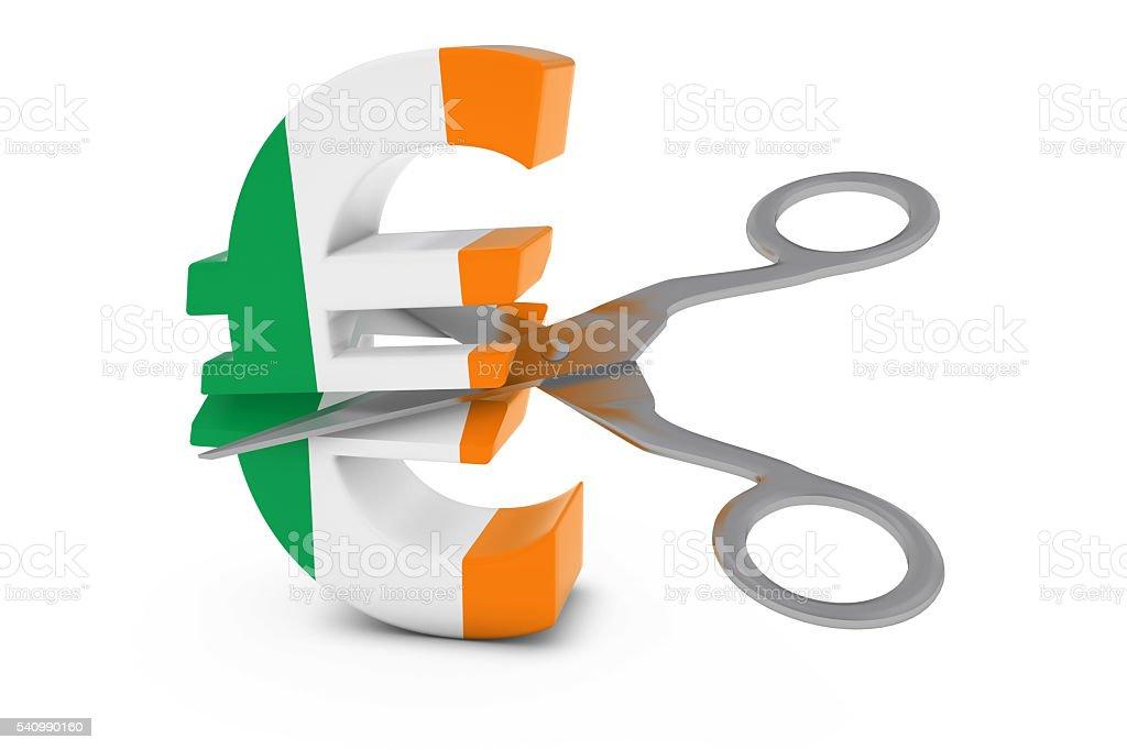 Irish Flag Euro Symbol Cut in Half with Scissors stock photo