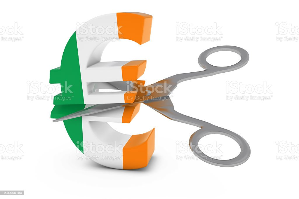 Irish Flag Euro Symbol Cut in Half with Scissors stock photo