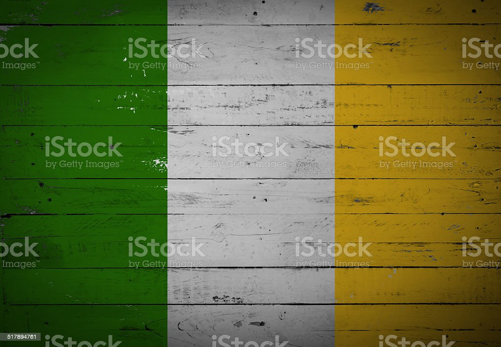 Irish flag painted on a wooden board stock photo