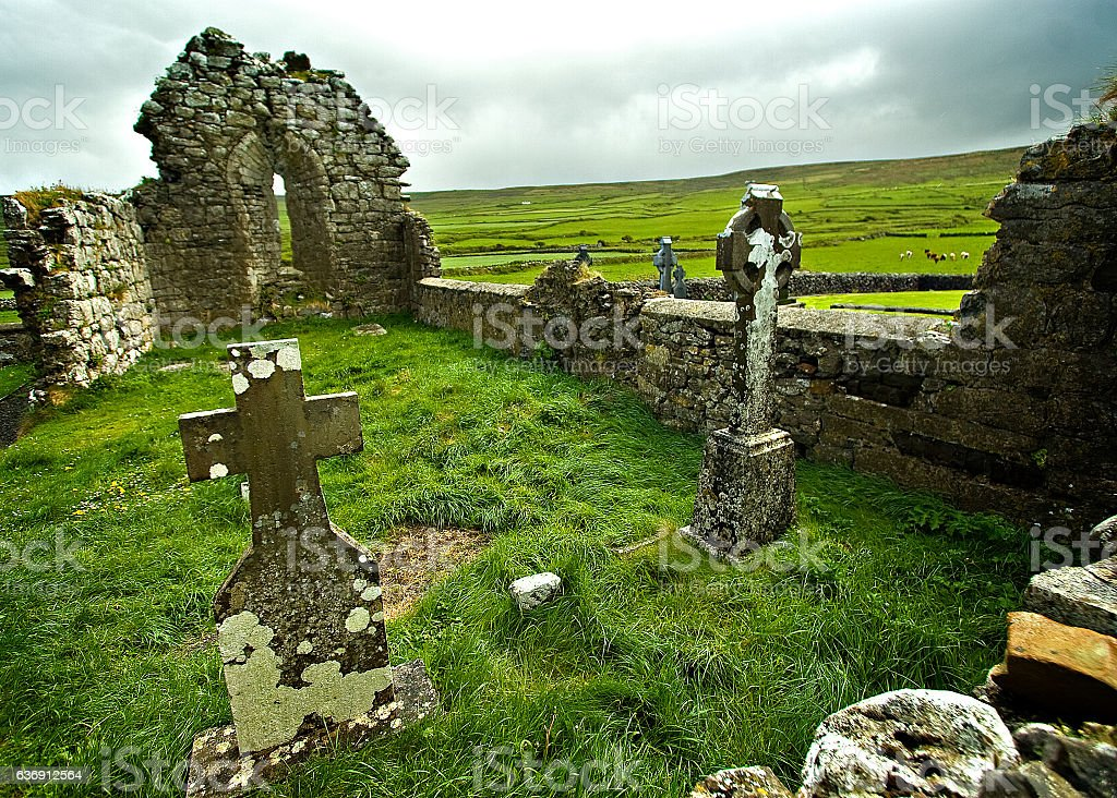 Irish graveyard stock photo